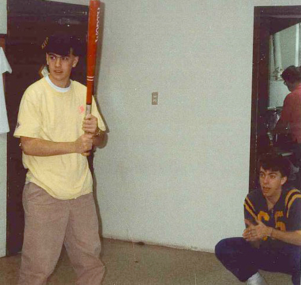 Daniel (L) and me (R) playing home run derby inside in the late 80s.