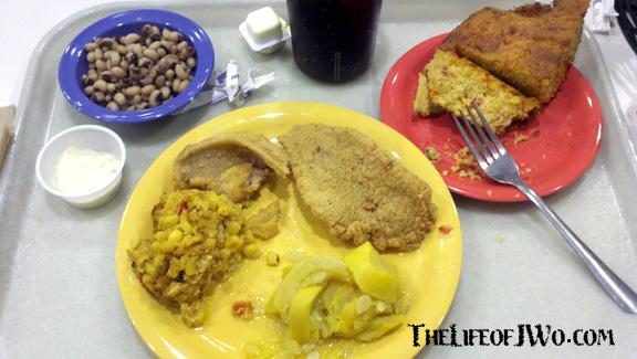 My dinner at the Fresh Market Cafe: fried catfish, squash, corn casserole, black eyes peas and corn bread.