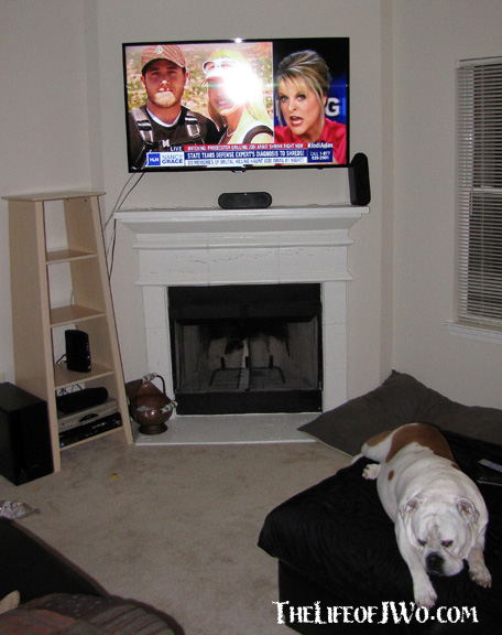 The awesome new TV that I'm not getting to watch tonight because Tammy's watching Nancy Grace talk about the Jodi Arias trial, for the fifth straight day. Even Savannah is tried of it...