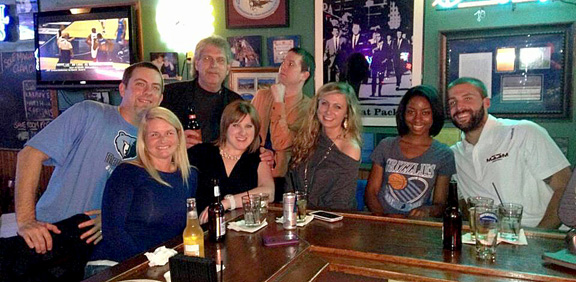 "Our new friends at the neighborhood bar. (from left: Me, Tammy, Big Daryl, Casey, Carter, ""Long Arms' Lori, Barbara and Scott Dakota.) See you guys next week."