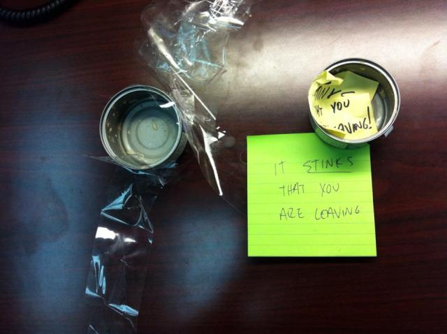 "What I left for our departing coworker. ""It stinks that you are leaving."""
