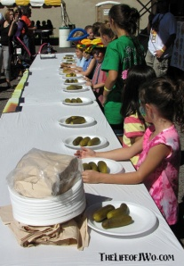 The contestants for the kids pickle eating contest.