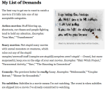 List of Demands
