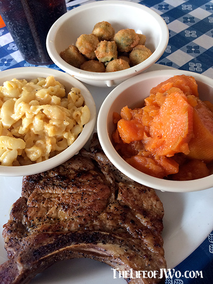 Grill pork chop, mac and cheese, fried okra and yams from Boss Man's Pit Stop.
