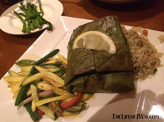 Banana leaf wrapped sea bass from Cosmo's.