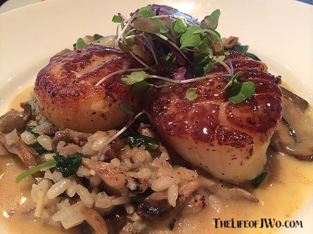 Pan seared scallops from Gilbey's.