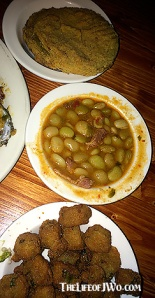 Fried green tomatoes (top), lima beans with tasso ham (middle), and fried okra.