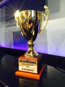The MovemberMania Media Mustache Champion trophy.