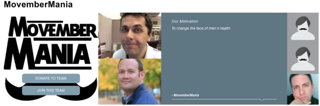 MovemberMania 2015 team page